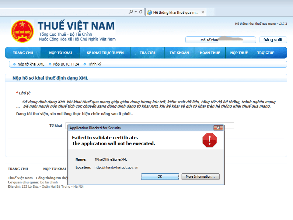 "Lỗi: ""Failed to validate certificate. The application will not be executed."" Lỗi ""Failed to validate certificate. The application will not be executed"" khi nộp tờ khai thuế qua mạng"
